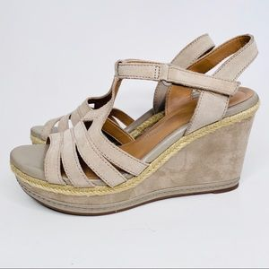 Clarks Shoes - Clarks Tan Suede Wedge Sandals Size 9